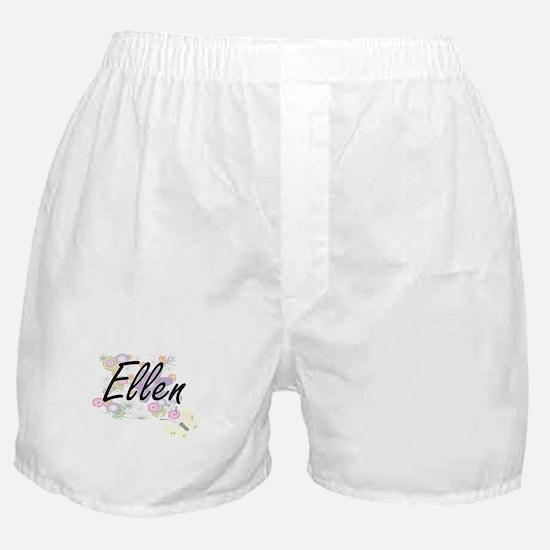 Ellen Artistic Name Design with Flowe Boxer Shorts