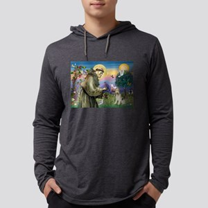 St Francis / Wire Fox Terrier Mens Hooded Shirt