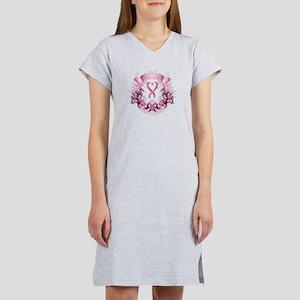 Survivor Pink Heart Ribbon Women's Nightshirt