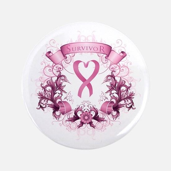 Survivor Pink Heart Ribbon Button