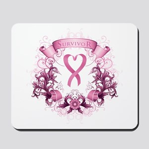 Survivor Pink Heart Ribbon Mousepad