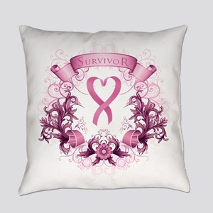 Survivor Pink Heart Ribbon Everyday Pillow