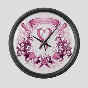 Survivor Pink Heart Ribbon Large Wall Clock