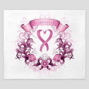 Survivor Pink Heart Ribbon King Duvet