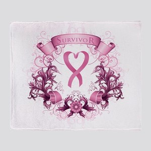 Survivor Pink Heart Ribbon Throw Blanket