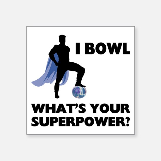 "Bowling Superhero Square Sticker 3"" x 3"""