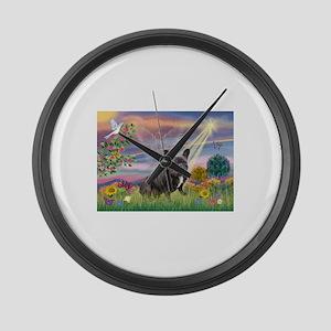 Cloud Angel / Fr Bulldog (bl Large Wall Clock