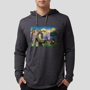 St Francis / Fr Bulldog (brin Mens Hooded Shirt