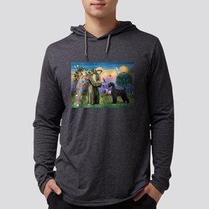 St Francis /G Schnauzer(blk) Mens Hooded Shirt