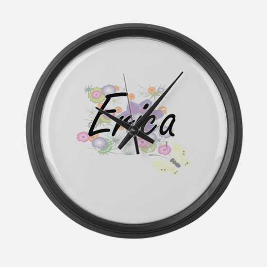 Erica Artistic Name Design with F Large Wall Clock