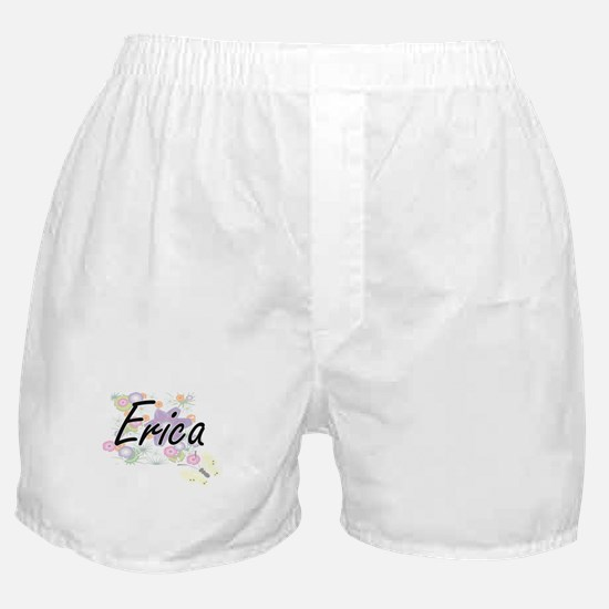 Erica Artistic Name Design with Flowe Boxer Shorts