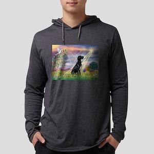 Cloud Angel /Great Dane (blk) Mens Hooded Shirt