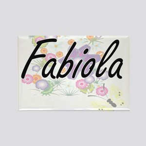 Fabiola Artistic Name Design with Flowers Magnets