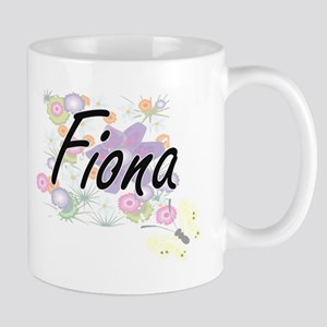 Fiona Artistic Name Design with Flowers Mugs