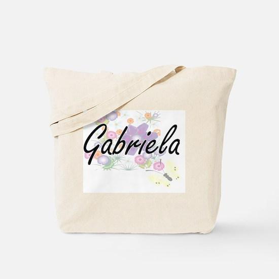 Gabriela Artistic Name Design with Flower Tote Bag