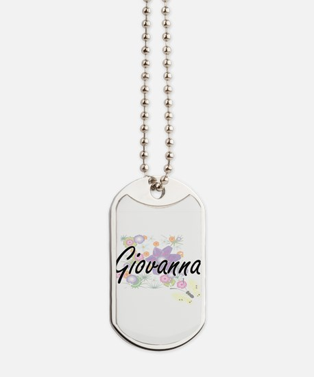 Giovanna Artistic Name Design with Flower Dog Tags
