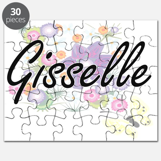 Gisselle Artistic Name Design with Flowers Puzzle