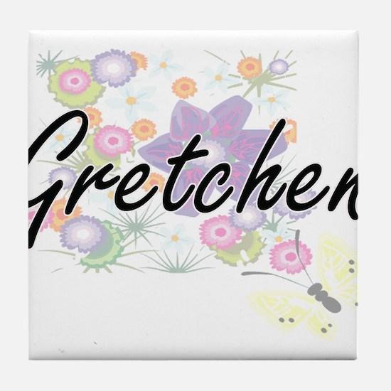 Gretchen Artistic Name Design with Fl Tile Coaster