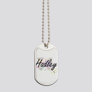 Hadley Artistic Name Design with Flowers Dog Tags