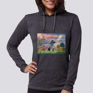 Cloud Angel / Keeshond Womens Hooded Shirt