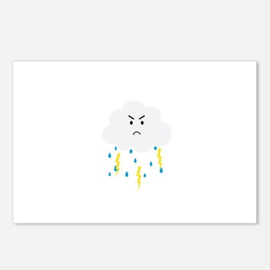 Grumpy cloud with lightni Postcards (Package of 8)