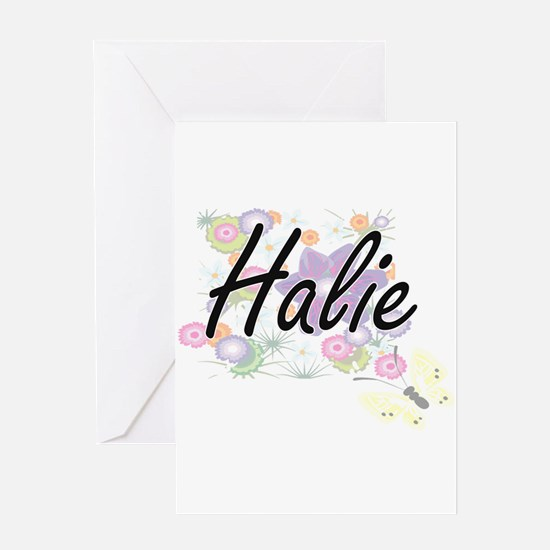 Halie Artistic Name Design with Flo Greeting Cards