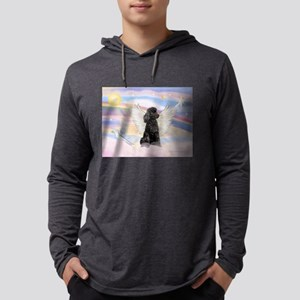 Angel/Poodle (blk Toy/Min) Mens Hooded Shirt