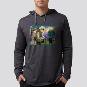 St Francis / Poodle(blk min) Mens Hooded Shirt