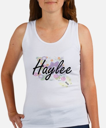 Haylee Artistic Name Design with Flowers Tank Top