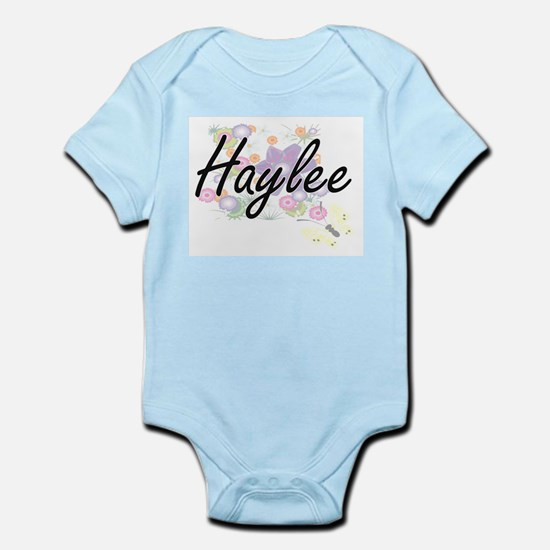 Haylee Artistic Name Design with Flowers Body Suit