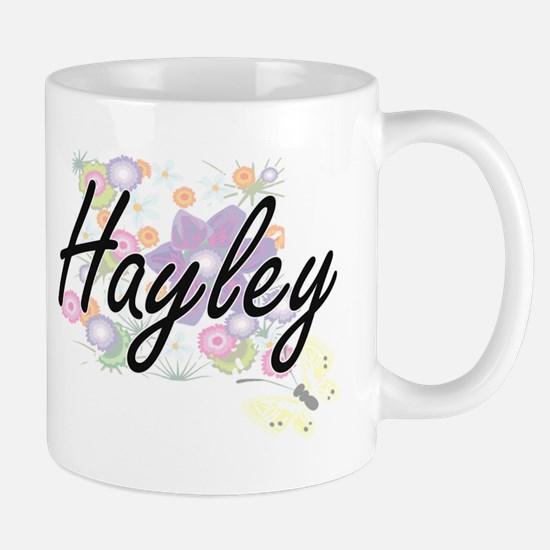 Hayley Artistic Name Design with Flowers Mugs
