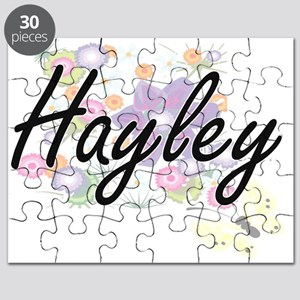 Hayley Artistic Name Design with Flowers Puzzle