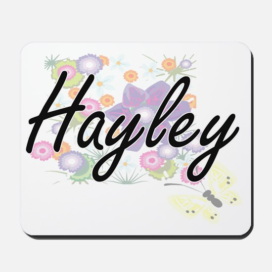 Hayley Artistic Name Design with Flowers Mousepad