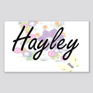 Hayley Artistic Name Design with Flowers Sticker