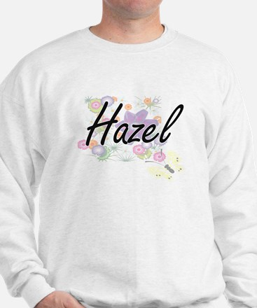 Hazel Artistic Name Design with Flowers Sweater