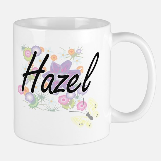 Hazel Artistic Name Design with Flowers Mugs
