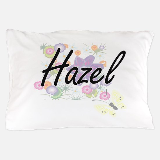 Hazel Artistic Name Design with Flower Pillow Case