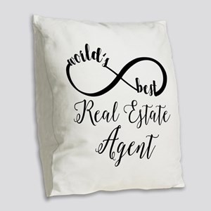 World's Best Real Estate Agent Burlap Throw Pillow
