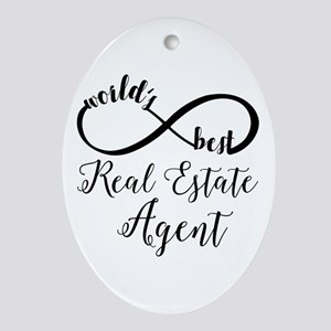 World's Best Real Estate Agent Oval Ornament