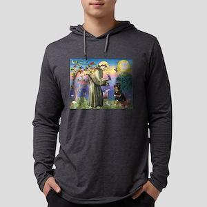 St Francis / Rottweiler Mens Hooded Shirt