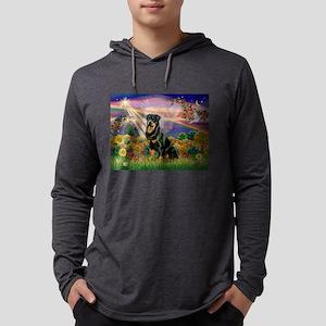 Autumn Angel & Rottie Mens Hooded Shirt