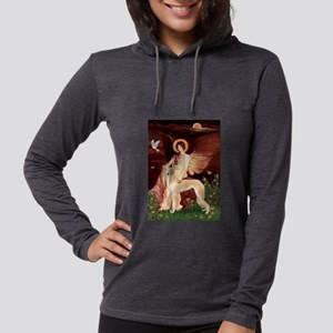 Seated Angel / Saluki Womens Hooded Shirt