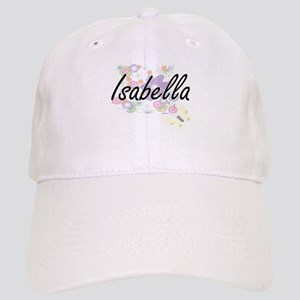 Isabella Artistic Name Design with Flowers Cap