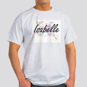 Isabelle Artistic Name Design with Flowers T-Shirt