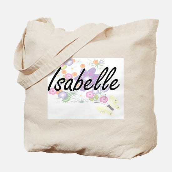 Isabelle Artistic Name Design with Flower Tote Bag