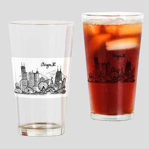 Chicago Landmarks Ink Sketch Drinking Glass