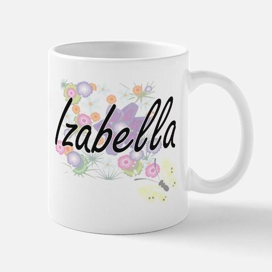 Izabella Artistic Name Design with Flowers Mugs