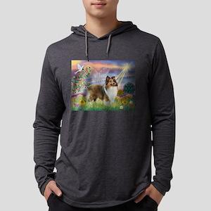Cloud Angel & Sheltie Mens Hooded Shirt