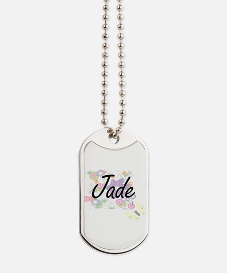 Jade Artistic Name Design with Flowers Dog Tags