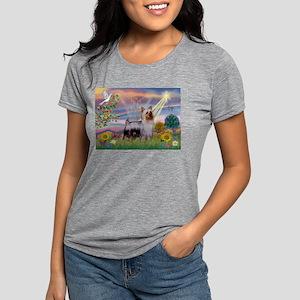 Cloud Angel /Silky Terrier Womens Tri-blend T-Shir